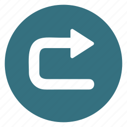 arrow, direction, movement, return, right, sign, uturn icon