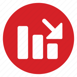 arrow, fall, low, profit, scale, signal, stock icon