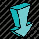 arrow, arrows, dimensional, direction, down, movement