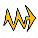 arrow, arrows, crooked, noise, pierce, zigzag icon