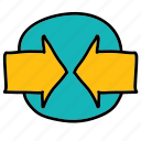 arrows, circle, direction, meeting