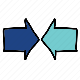 arrows, meeting, middle icon
