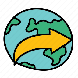 around, arrow, arrows, movement, world icon