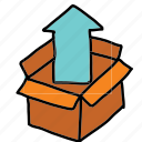 arrow, arrows, box, movement, out, unpack icon