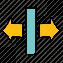 arrow, arrows, movement, rectangle, seperate, split icon