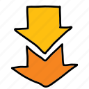 arrow, arrows, direction, double, down, movement icon