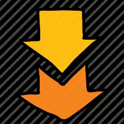 arrow, arrows, direction, double, down, movement icon