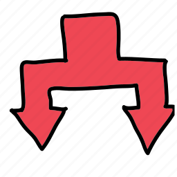 arrows, chart, connected, direction, down icon