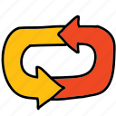 arrow, arrows, cycle, loop, return, roundabout icon