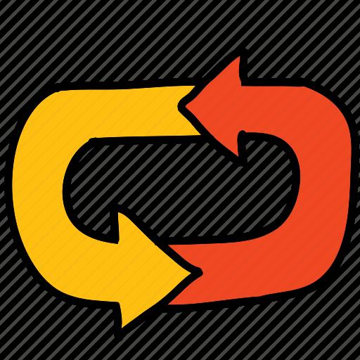 arrow, arrows, cycle, loop, return, roundabout icon