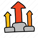 achievement, arrow, arrows, improvement, rising icon