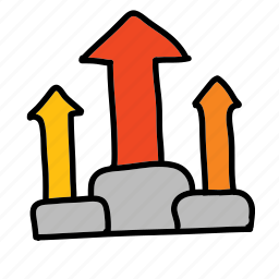 achievement, arrow, arrows, improvement, rising icon