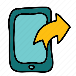 arrows, from, mobile, sending, sent, share icon