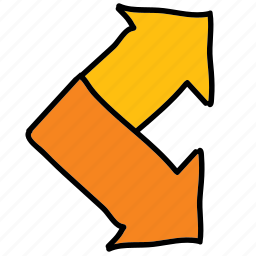 arrows, road, seperating, spliting icon