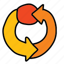 arrow, arrows, cycle, loop, spiral, turning icon