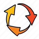arrows, business, circle, sign, spiral, turning icon
