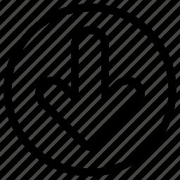 arrows, direction, down, line-icon, move icon