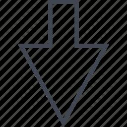 arrow, down, point, sleek icon