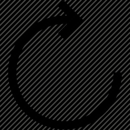 arrow, circule, refresh, turn right icon