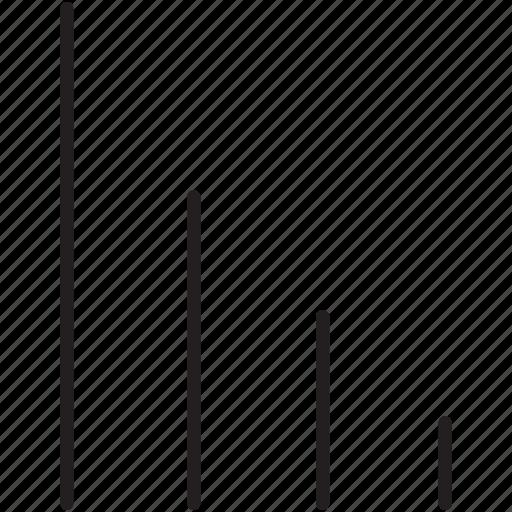 arrow, decrease, fall, low, scale, signal, volume icon