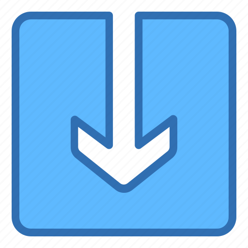 arrow, down, download, inside icon