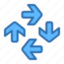 around, arrows, direction, rotation icon