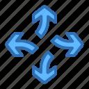 direction, arrows, break, detach, divide, separate