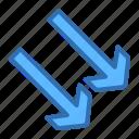 arrow, down, diagonal, navigation, right