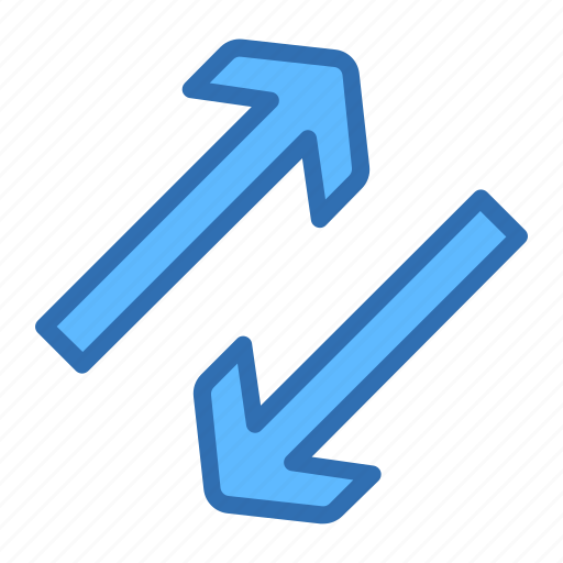 arrows, diagonal, exchange, swap, transfer icon