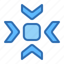 arrows, center, colapse, focus, pointer, target icon