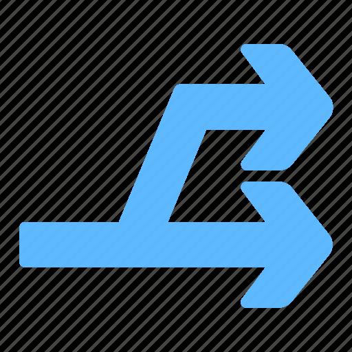arrow, direction, line, right, split, traffic icon