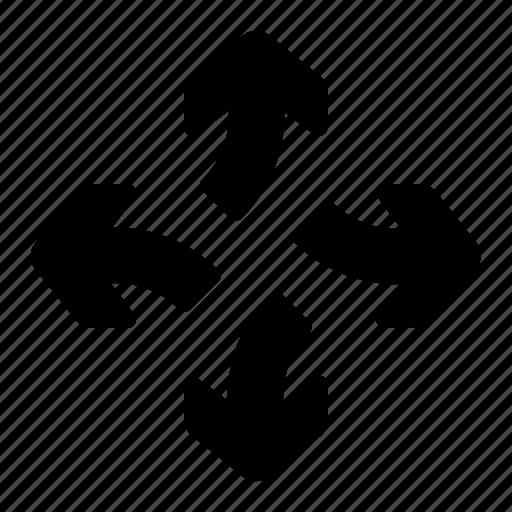 arrows, break, detach, direction, divide, separate icon