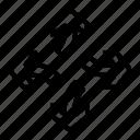 arrows, break, detach, divide, separate icon