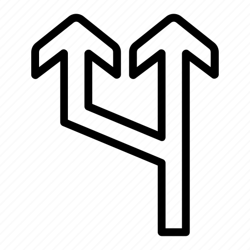 arrow, line, split, traffic, up icon