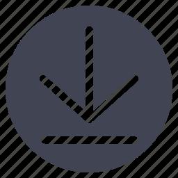 arrow, arrows, down, download, line icon