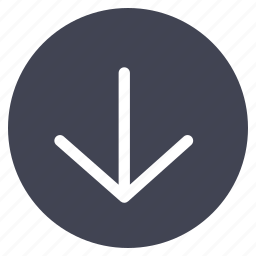 arrow, direction, down, move, navigation, round icon