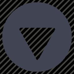 arrow, arrows, direction, down, navigation, pointer, round icon