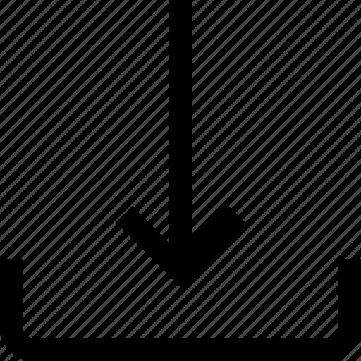 arrow, import, inside icon