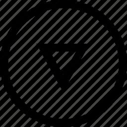 arrow, circule, down, keyboard icon