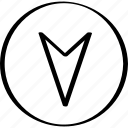 arrow, down, go, point icon