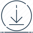 arrow, circle, down, download, sign icon