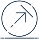 arrow, circle, right, sign, up icon
