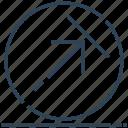 arrow, circle, right, sign, up