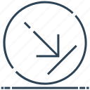 arrow, circle, down, right, sign icon