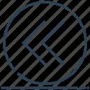 arrow, circle, left, previous icon