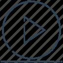 circle, media, play, run, sign icon