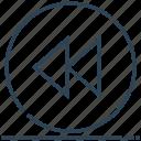 backward, circle, previous, rewind, sign icon