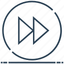 circle next, forward, rewind, sign icon
