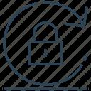 arrow, lock, locked, rotate, sync icon
