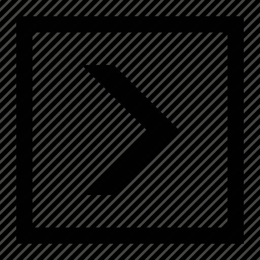 arrow, big, chevron, square icon